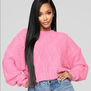 Cropped Cable-knit Fashion Nova Sweater